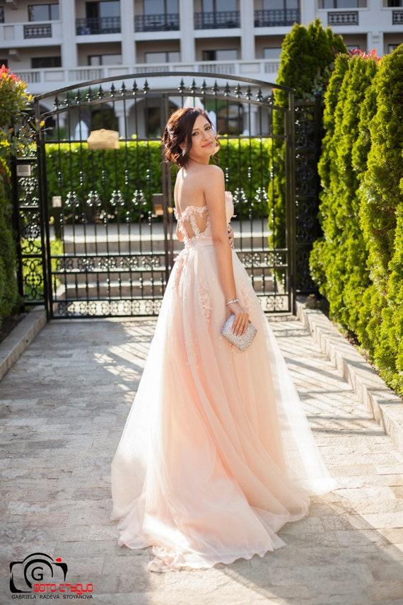 Suknia ślubna Peach Z Gorsetu Sexy Tiul Suknia ślubna Różowy Etsy
