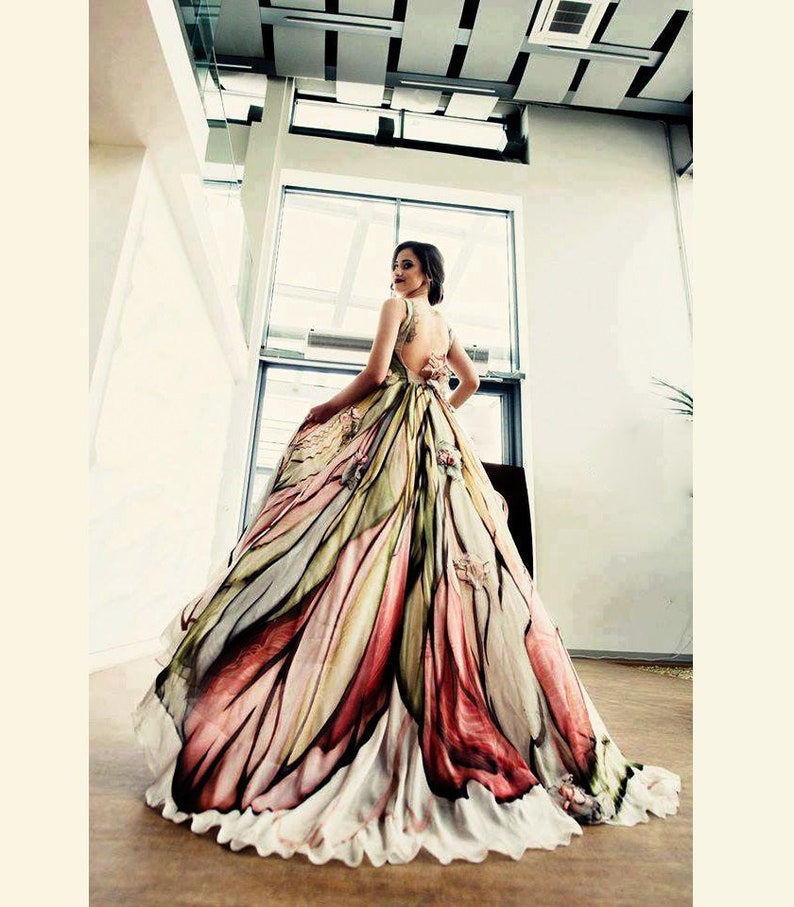 Long Mother of the bride dress Hand painted silk dress image 0