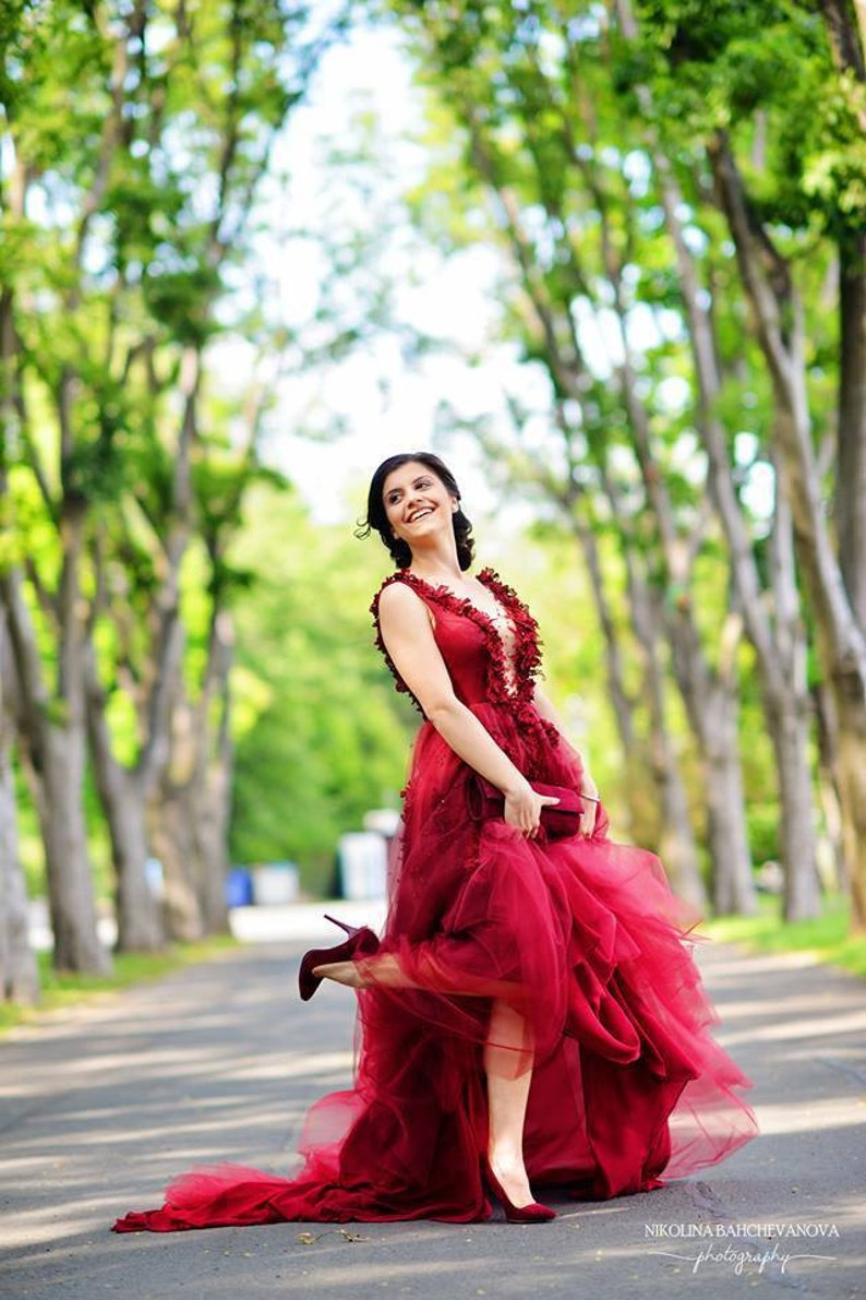 Wine red prom dress Long evening dress in burgundy Long bridesmaid dress or gowns Couture elegant dress Romantic wedding guest dress