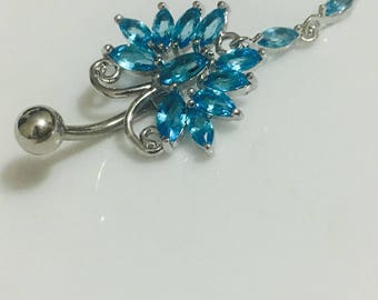 Butterfly dangle belly button ring