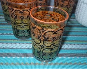 5 Vintage Juice Glasses Orange Yellow Green Black Retro  Libby 60's-70's