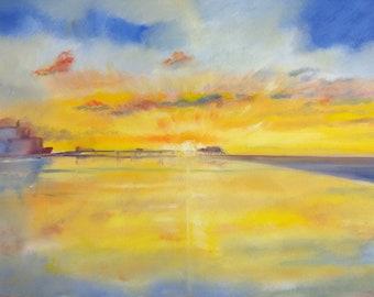 Cromer Pier at sunrise oil on canvas