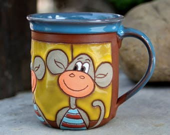 Mugs handmade, Pottery coffee mugs, Ceramic mug handmade, Ceramic mug, Mug ceramics animal, Animal mug, Monkey pottery, Handmade coffee mug