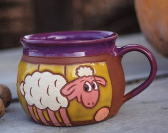 Mug for kids, Sheep mug, Christmas mug, Pottery handmade, Ceramic mug, Pottery coffee mug, Animal mug, Pottery mug, Kids mug, Mug with sheep