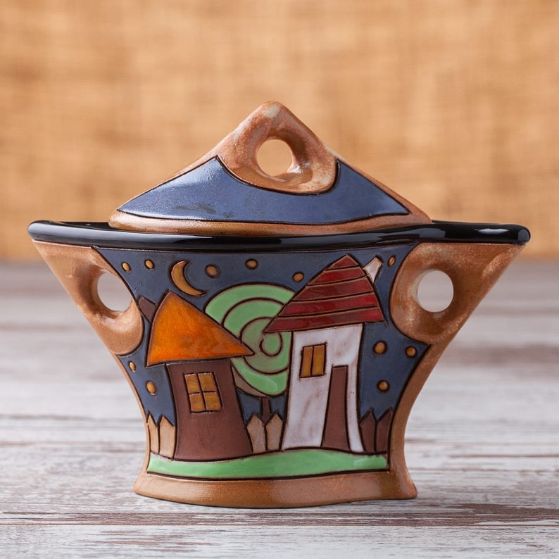 Handmade sugar bowl Handmade Ceramic Pottery Jar with whit image 0