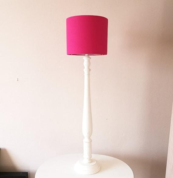 Wood Lamp With Fuchsia Pink Lampshade, Small Fuschia Lamp Shade