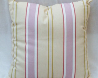 Striped pillow pink, green, yellow, white cotton cover