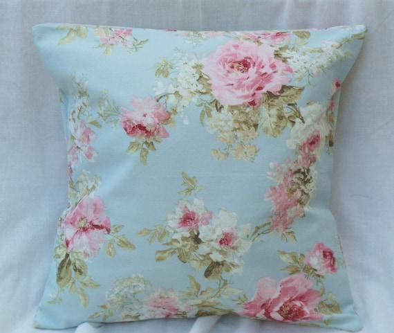 coussin floral turquoise roses bleu azur es florales etsy. Black Bedroom Furniture Sets. Home Design Ideas