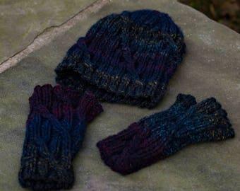 Hand Knit Hat and Mitt Set