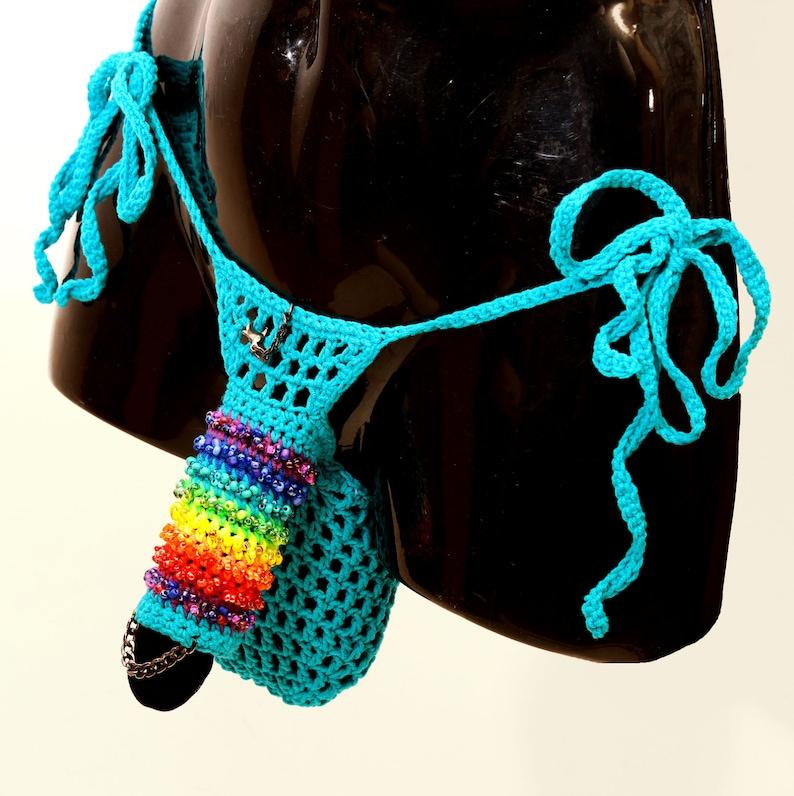 8df8c11b4064e Penis sleeve, Masturbation Crochet beaded mens G string, Erotic sexy  underwear with erectile holder, XXL thong, Plus size thong RAINBOW