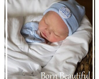Baby boy hospital hat with monogrammed name, Newborn Hospital hat, Personalized infant hat, Personalized baby boy shower gift, infant hat