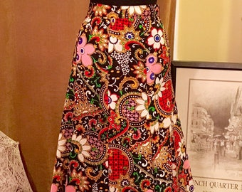 Vintage Boho Festival Psychedelic Trippy Baroque Pattern - Black Red Green  Gold Pink Maxi Skirt 8be14f1f03c
