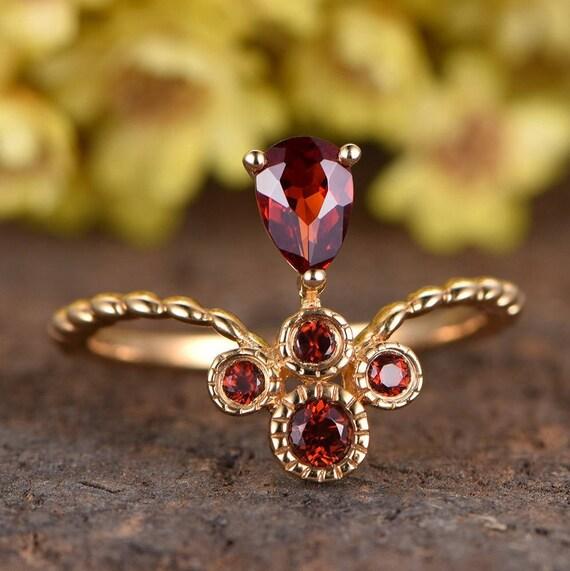 bf7a73b9b10f4 Garnet Engagement Ring Solid 14K Rose Gold 4x6mm Pear Cut Garnet Ring  Floral Wedding Ring Bridal Promise Ring Anniversary Ring Plain Band