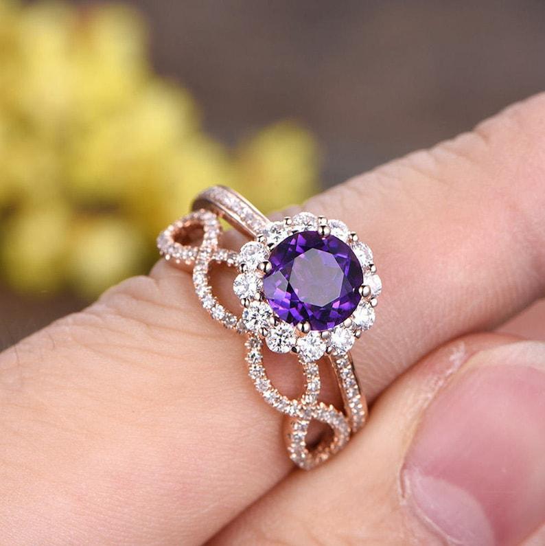 Vs Natural Amethyst Engagement Ring Set 14k Rose Gold Floral Etsy