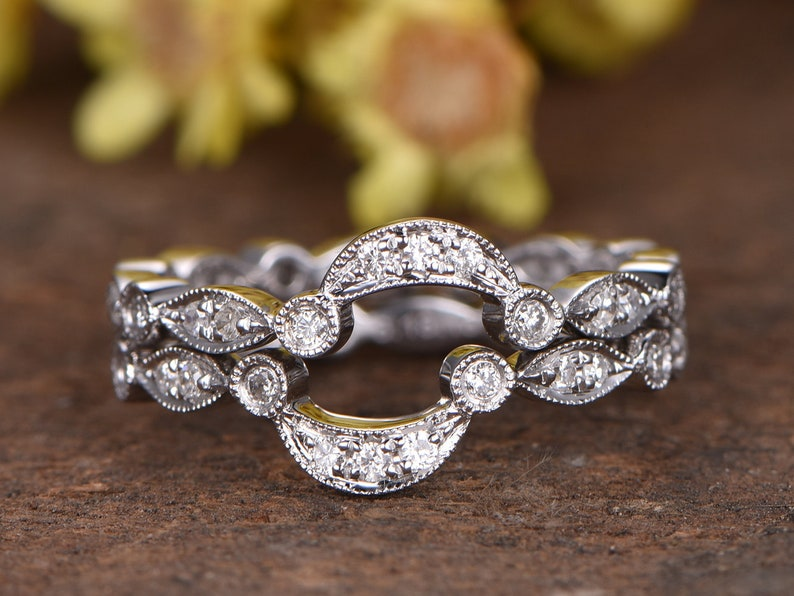 cd16d91e1e0c2 Marquise diamond wedding band set Milgrain bridal promise ring Solid 14k  white gold full eternity band diamond ring bridal ring set 2pcs
