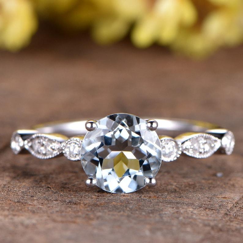 2d842a0bf75c99 Aquamarine Engagement Ring Art Deco Wedding Band Unique   Etsy