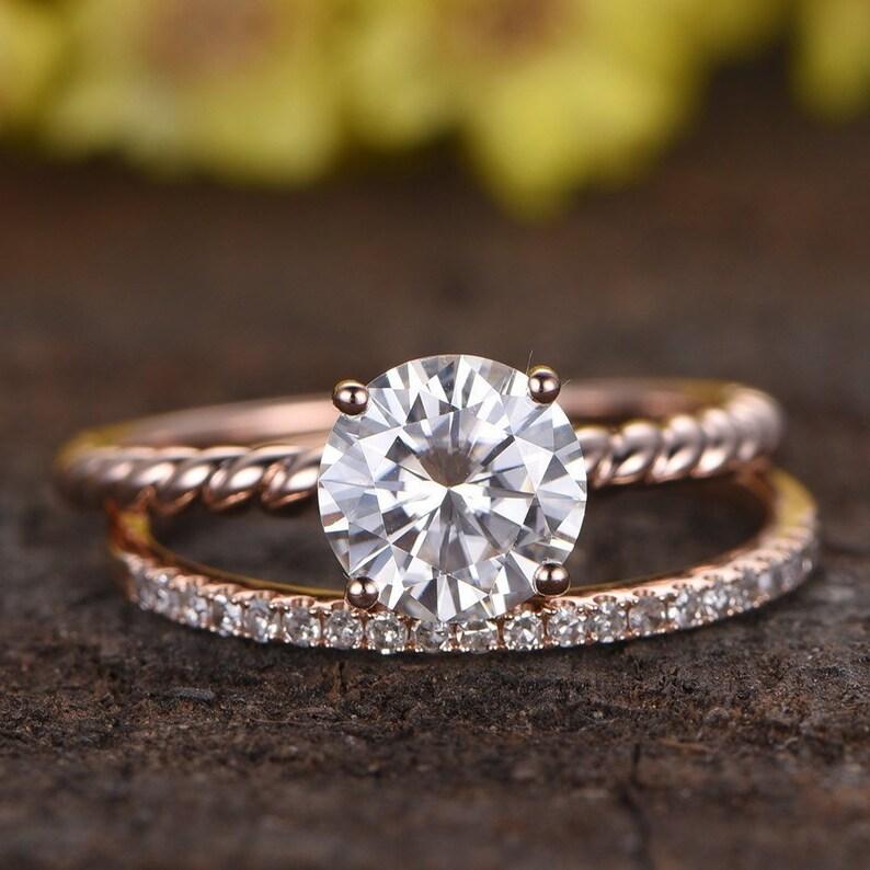 389107dea884d1 1.3CT Moissanite Engagement Ring Set Diamond Wedding Band 14k   Etsy
