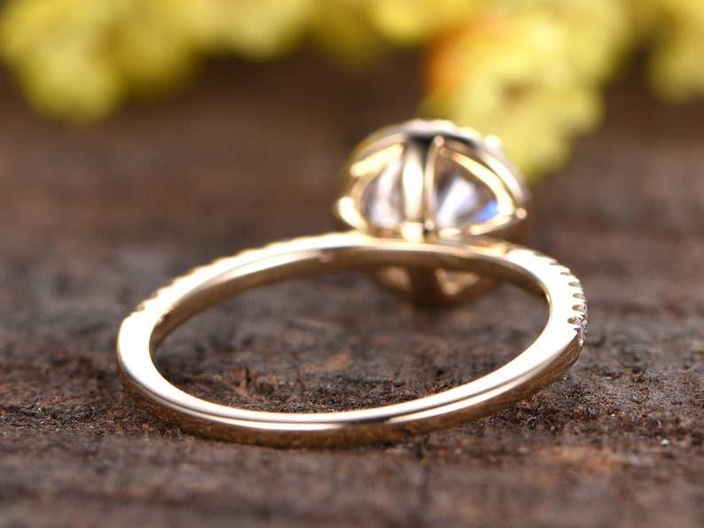 Kamron payment plan,6.5mm 1ctw round moissanite engagement ring,size 6 12,14K white gold,rush order