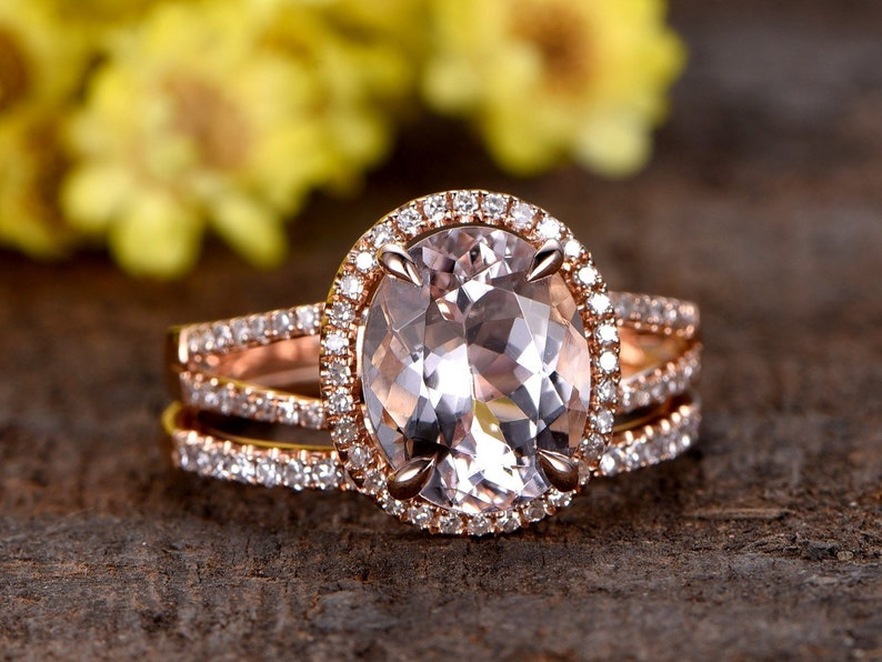 516182abaebd5 VS Pink Morganite ring set rose gold Curved U diamond band 8x10mm oval  Morganite ring 2pcs bridal ring set 14k rose gold split shank band