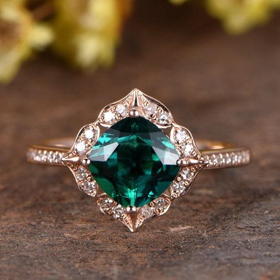 Vintage Ring Rose Gold Emerald Engagement Ring Emerald Halo Engagement Wedding Ring Solid 14k or 18k Rose Gold Bridal