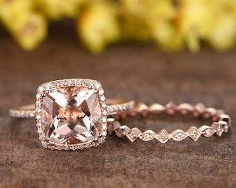 3ct morganite engagement ring set,2pcs bridal ring set,14k rose gold diamond ring,Milgrain matching band,full eternity,9mm cushion cut gem