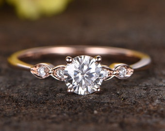 Classical 5mm Round Moissanite Engagement Ring,diamond wedding ring,14k Rose Gold rings for women,anniversary gifts