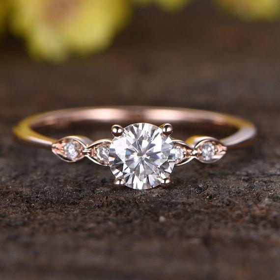 Moissanite Engagement Ringdiamond Ring14k Rose Gold Etsy