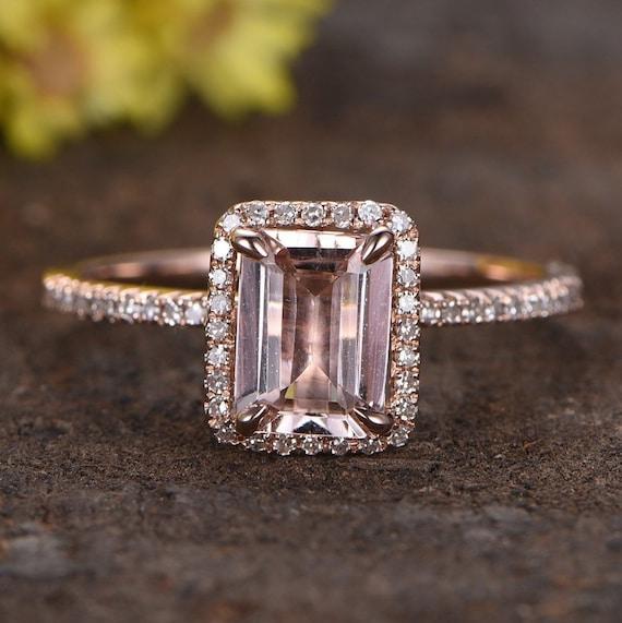 Pink Morganite Engagement Ring 14k Rose Gold Halo Diamond Etsy