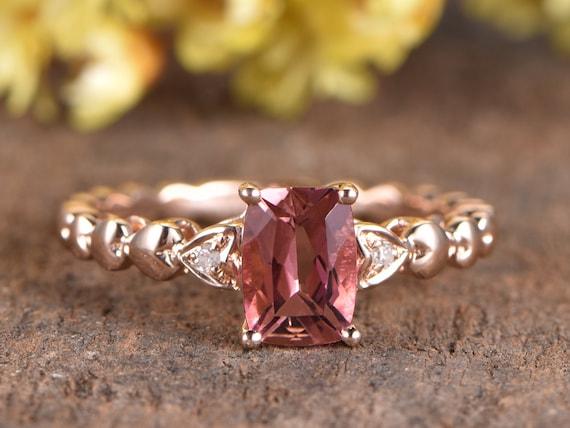 Vintage 925 Silver Tourmaline Gems Engagement Wedding Ring Rose Cut Diamond Ring