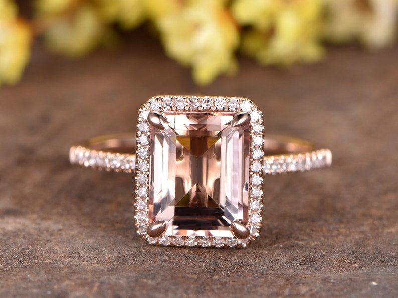 194b80bc63957 Pink Morganite engagement ring rose gold HALO diamond wedding band bridal  promise ring 8x10mm emerald cut Morganite ring half eternity band