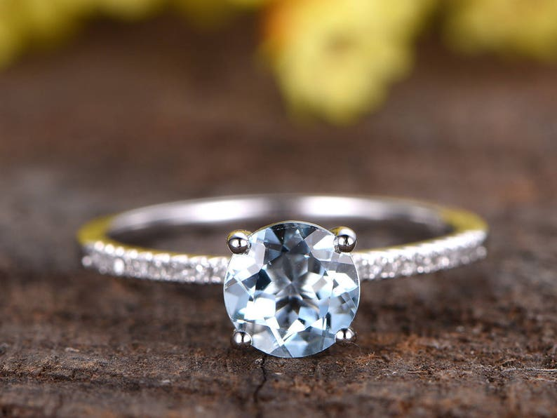 d4f9ddeb396278 6.5mm Aquamarine Engagement Ring White Gold Solitaire Ring   Etsy