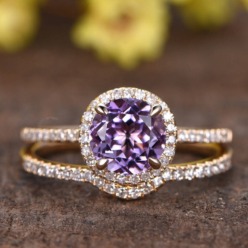 7mm Round Cut 1 2ctw Vs Amethyst Engagement Ring Set Curved Etsy