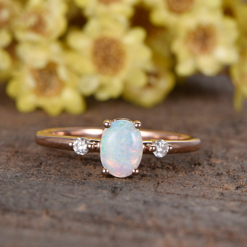 Oval Opal engagement ring Solitaire ring three stone ring image 0
