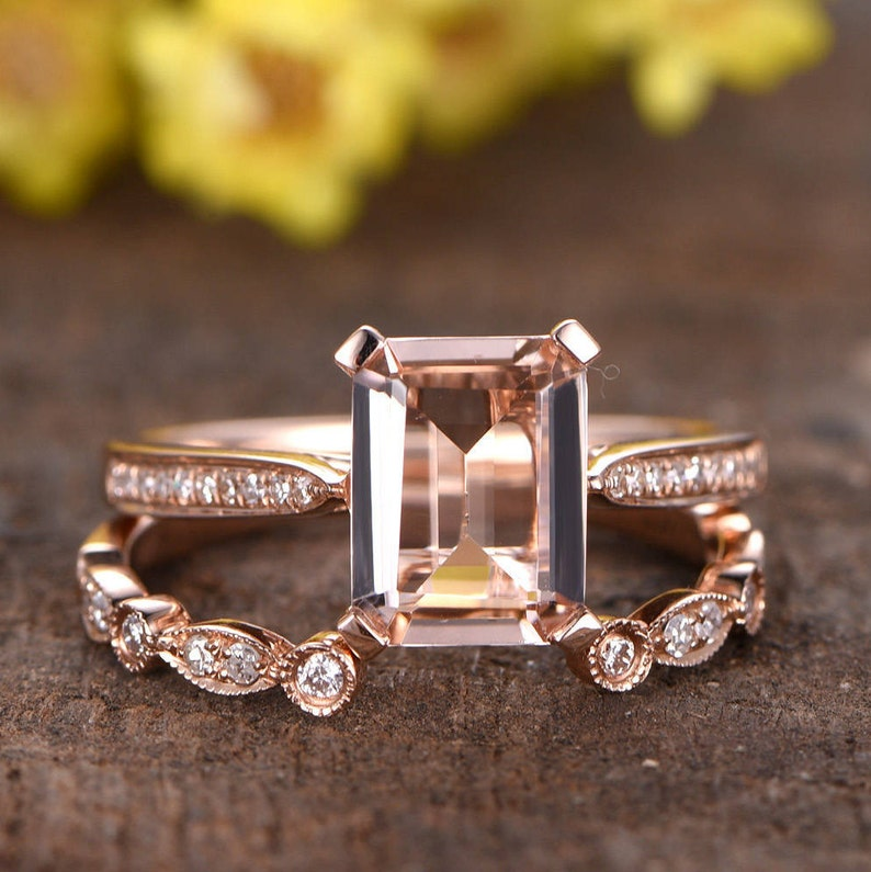 bb17f1527290e 6x8mm Emerald Cut Pink Morganite Solitaire Engagement Ring Set | Etsy