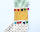 Christmas stocking green yellow gold colorful pompoms vintage inspired eclectic unique