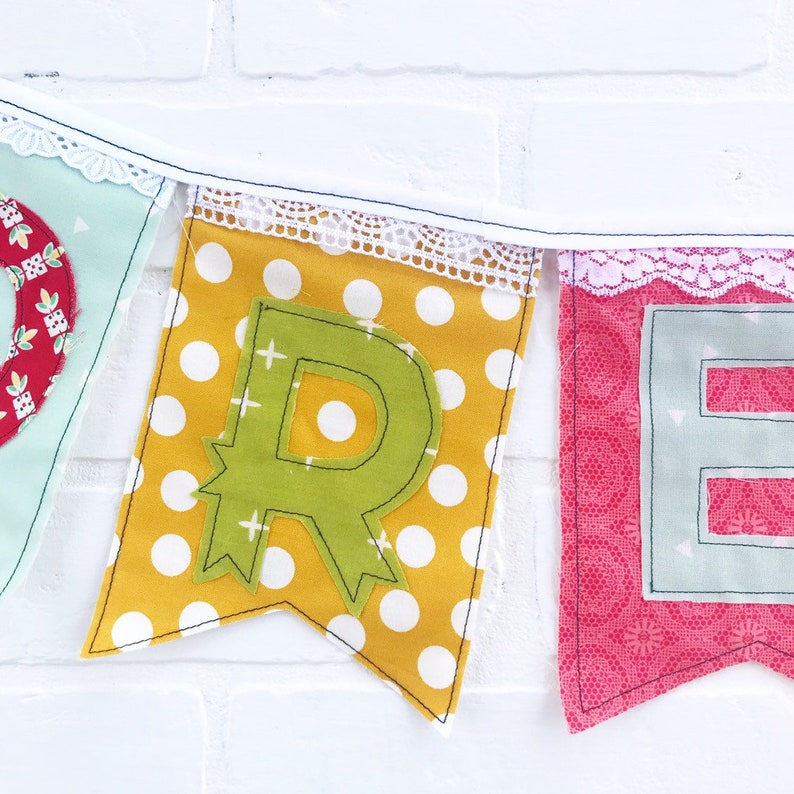 Dream Starburst banner colorful eclectic vintage fabric and lace