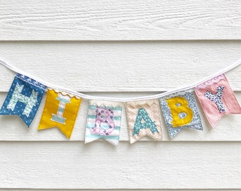 HI BABY banner, colorful eclectic, made from new repurposed and vintage fabrics with lace trim