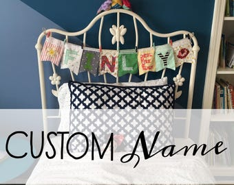 Custom fabric banner name, nursery or childrens room decor, eclectic and colorful (one flag only, select quantity of letters needed)