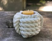 Candle Holder Nautical Cement Monkey's Fist