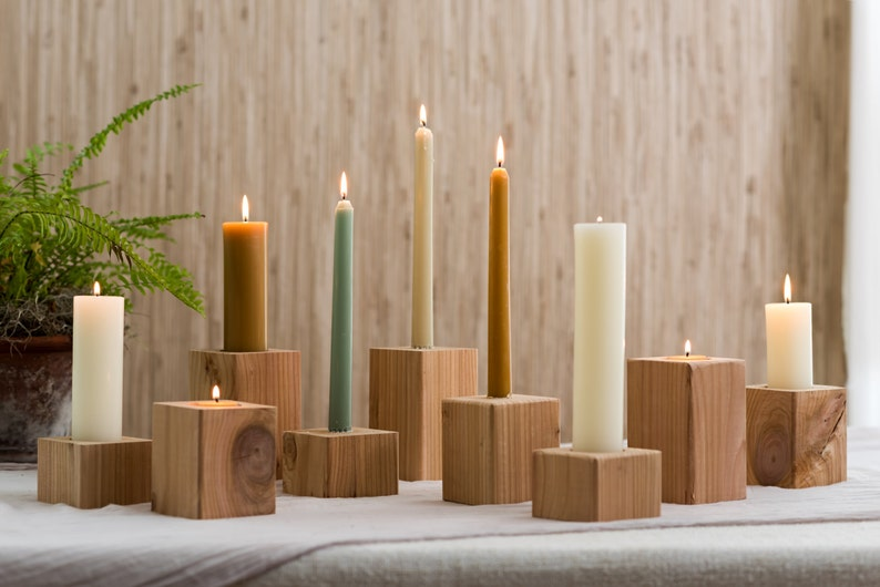 Cedar Candle holders taper and tealight in one. image 0