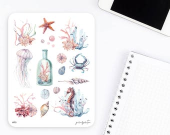 W53 | Watercolor Stickers | Decorative Stickers | Sea Ocean Stickers | Planner Stickers | Bullet Journal Stickers