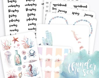 K01 | Monthly Planner Stickers | Planner Stickers Kit | Sea Stickers | Erin Condren Life Planner Stickers | Bullet Journal Stickers