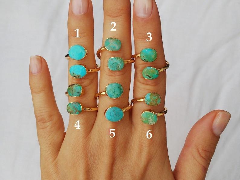 db190fc29416 Anillos con turquesas-Anillo doble piedra turquesa-Anillo oro