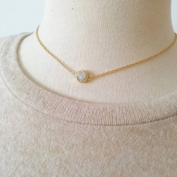 Gold necklace-Delicate gold necklace for woman-Dainty necklaces for women-Minimalist jewelry-Iridescent druzy gems-Square druzy charm.