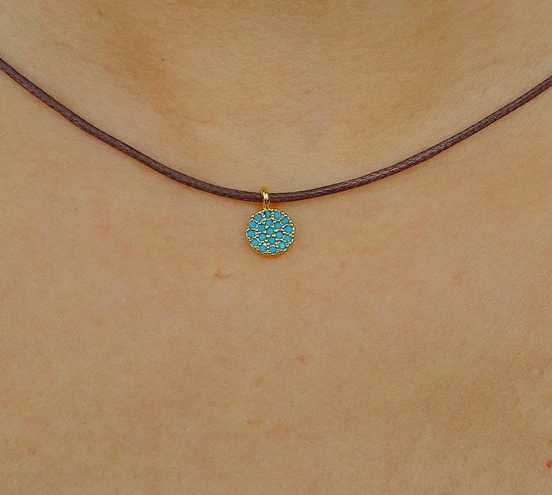Cotton cord necklace-Gold necklace-Black necklace-Brown necklace-Dainty pendant necklace-Women necklace-Delicate necklace-Micro pave charm.