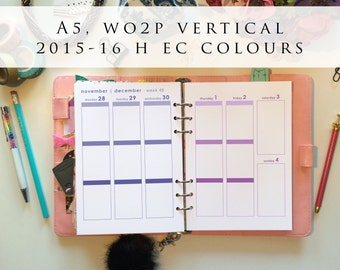 A5 planner inserts - week on 2 pages (WO2P), vertical, Mon-Sun, 2015/16 H EC colours, pre-punched (A5.3)