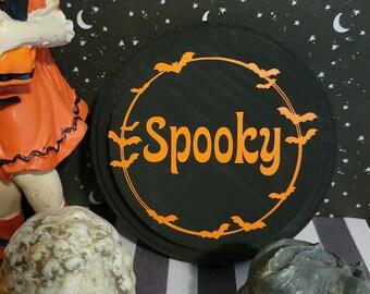Spooky Bats Wood Wall Plaque
