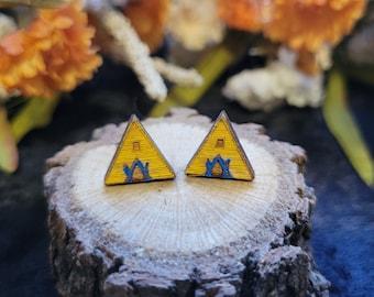 Mini Wood Midsommar Triangle House Stud Earrings