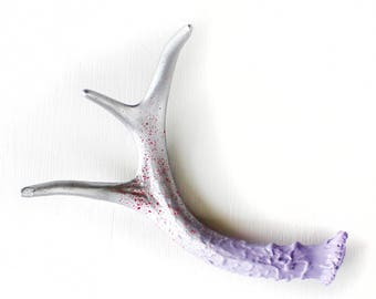 Painted Antler : Purple, Pink and Silver, X-Small