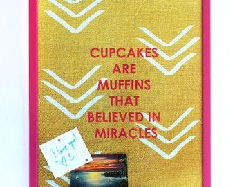 "Magnetic Bulletin Board: Cupcakes, 16 x 20"""